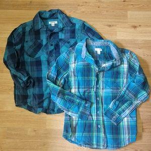 Blue plaid size 8/10 button down shirts